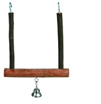 Swing with bell, bark wood 12 cm